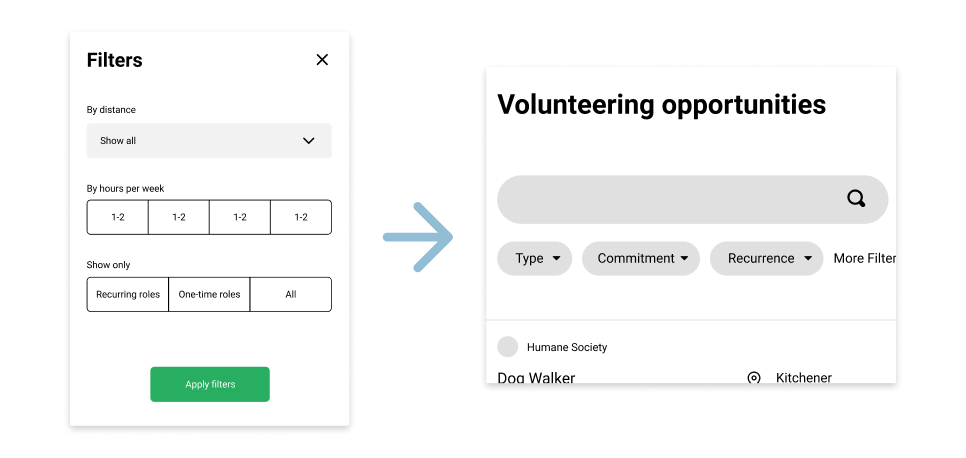 Surfaceing the filtering options available from inside the filters modal to the main Volunteer page
